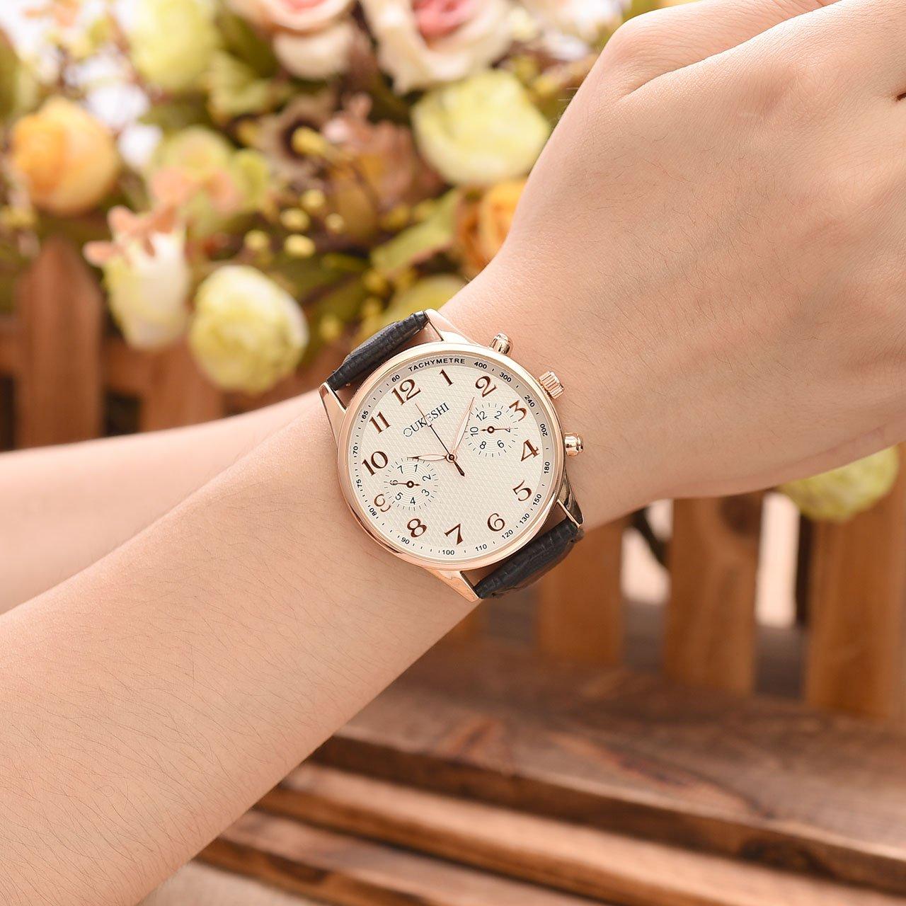 JSDDE Uhren,Herren Business Armbanduhr Arabische Ziffern Unecht Chronograph Wasserdicht Lederband Rosengold Analog Quarzuhr,Weiß+Schwarz