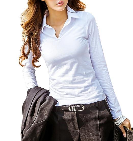 Primavera Mujeres Tops Moda Cuello V Camisetas de Manga Larga Blusas Casual Colores Lisos Slim Blusa