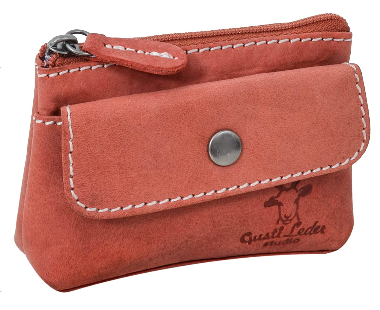 'Gusti Leather Studio Sascha Purse Mini Leather Key Wallet Purse Key Case Key Bag Buffalo Leather Key Wallet Key Ring Wallet Vintage Red 2 A91 22 – 10 Gusti Leder 2A91-22-10