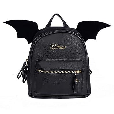 PU Leather Backpack Women Bat Wings Backpacks Teenage Girls Mini Bag Small  Shoulder Bag,black 1c8f1564c2