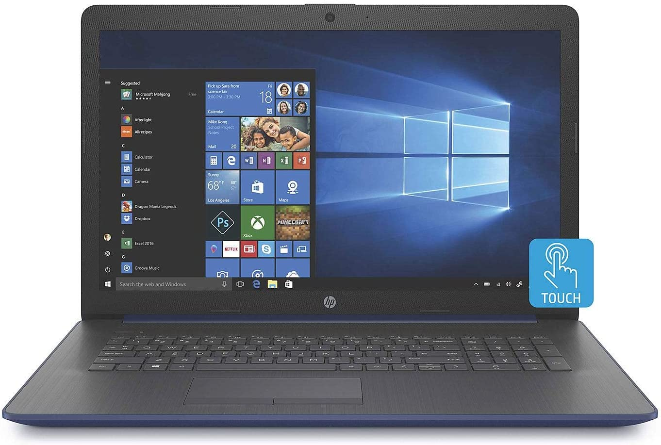 "HP 17.3"" HD+ SVA BrightView WLED-Backlit Touchscreen Laptop, Intel Quad-Core i5-8265U up to 3.9GHz, 8GB DDR4, 256GB NVMe SSD, Optical Drive, Bluetooth, Wi-Fi, HD Audio, HD Webcam, HDMI, Windows 10"