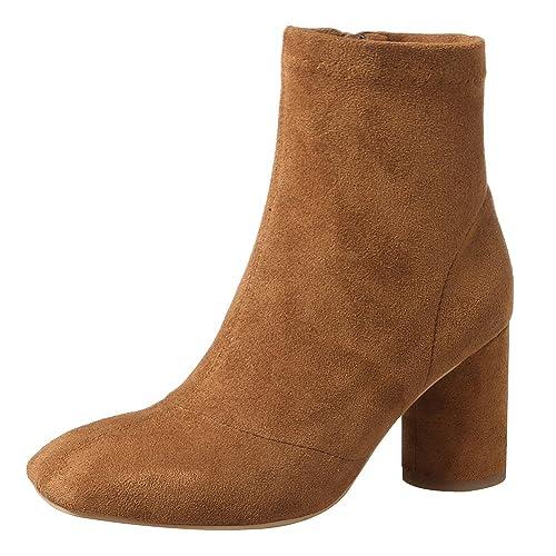 Jamron Mujer Cuero Genuino Completo Botines Elegante Punta Cuadrada Talón de Bloque Moda Botas de Cremallera: Amazon.es: Zapatos y complementos