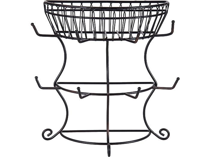 "Gourmet Basics by Mikasa 5154681 French Countryside Metal Mug Tree with Storage Basket, 14.76 x 7.76 x 13.50"", Antique Black"
