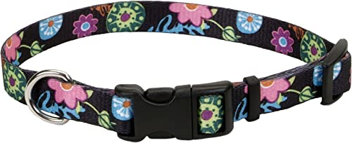 Pet Attire Styles Adjustable Dog Collar, Wild Flower Pattern, 5 8 x 10-14