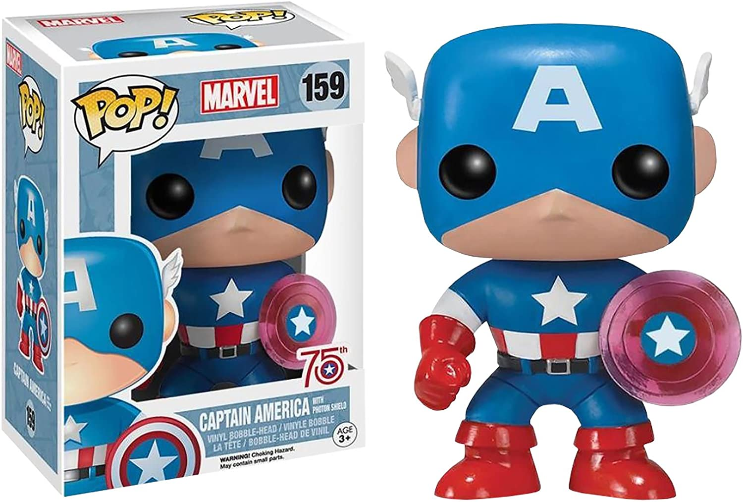 Funko 024964 Pop Marvel: Capitán América con Photon Shield 75th Anniversary Limited 159 Vinilo de Bobble Head