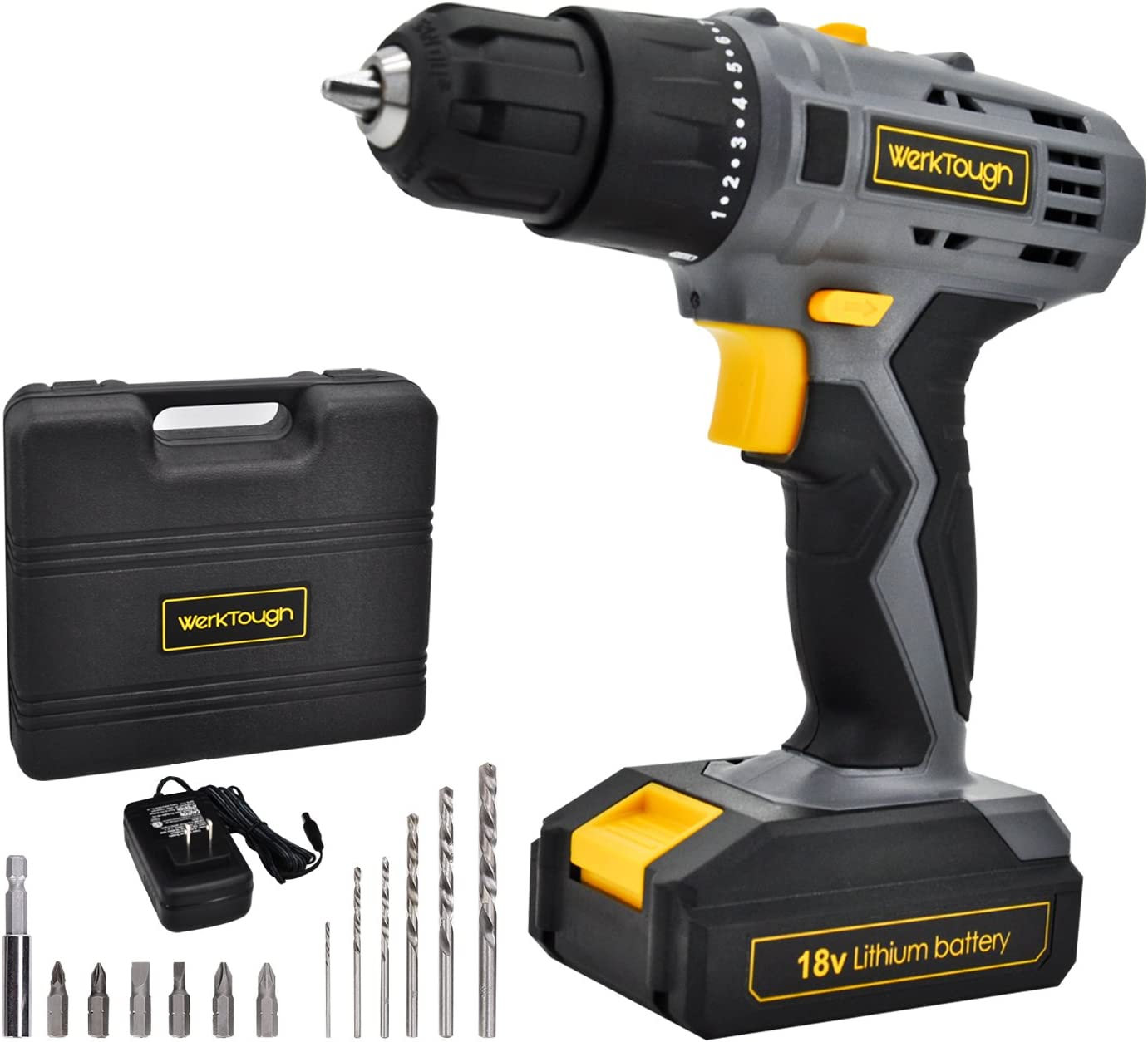 Cordless Drill Driver 2 viable Speed Powerful Screwdriver With Lion Battery And 14Pcs Accessories Uniteco D018
