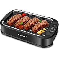 Techwood Smokeless Grill Electric BBQ Plate Searing Grill Indoor/Outdoor Compact & Portable Grilling Use with Interchangeable & Removable Griddle Nonstick