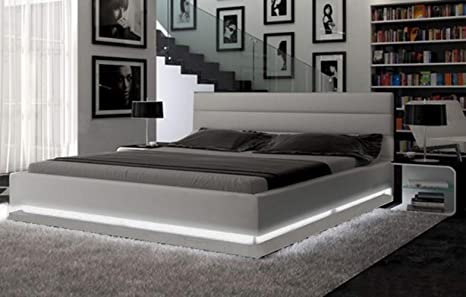 Amazon Com Modern European Design Platform Bed With Multi Color Led Lighting Queen Size Kitchen Dining