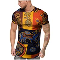 Overdose Moda para Hombre Camisas de Verano de Manga Corta Slim Casual Fashion Impreso Africano Cuello Redondo Tops Teen…