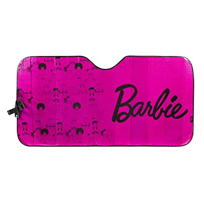 LUNNA Barbie 60th Anniversary Pink Fashionista Accordion Windshield Foldable Sun Shade for Front Car Window - Special Edition Officially Licensed Collectible Automotive Accessories - Universal Fit: Automotive