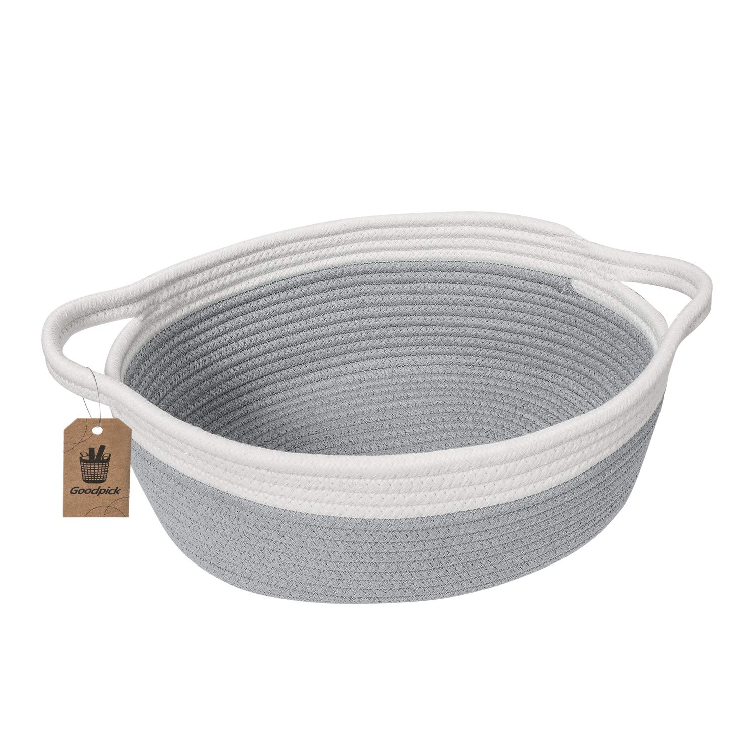 Goodpick Small Woven Basket | Cute Gray Rope Basket | Baby Cotton Basket | Nursery Room Storage Basket | Toy Chest Box with Handles Basket 12''x 8'' x 5'' Oval Candy Color Design