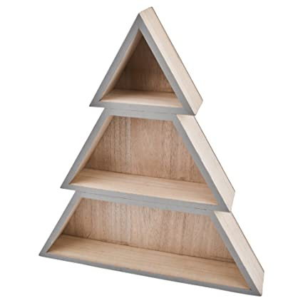 Christmas Tree Shelf Wooden Natural Grey Xmas Christmas 41x37x7cm
