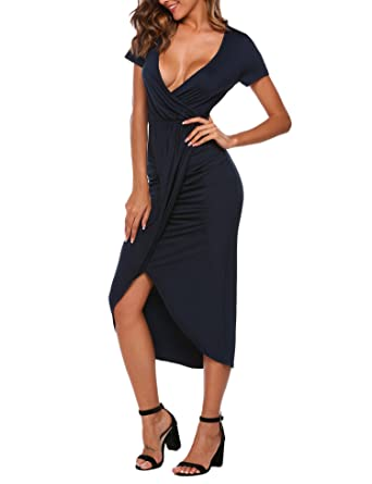 HOTOUCH Women s Deep V Neck Dress Classic Simple Evening Dress (Navy Blue  ... a68d07010