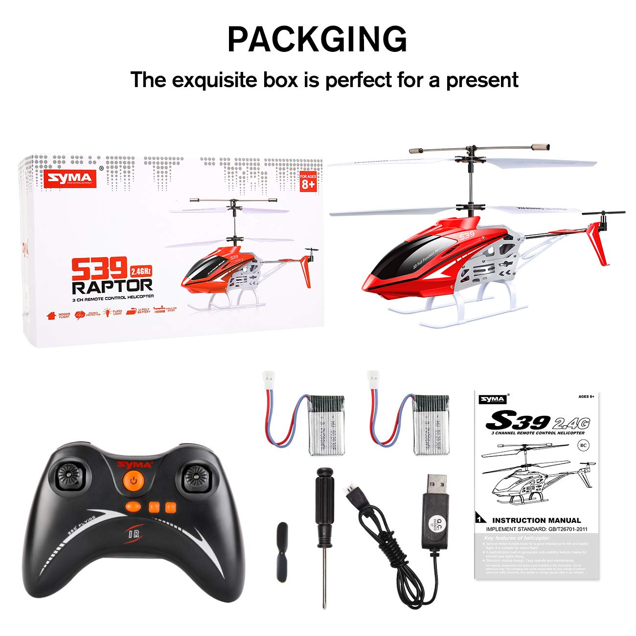 SYMA RC Helicopter, S39 Aircraft with 3.5 Channel,Bigger Size, Sturdy Alloy Material, Gyro Stabilizer and High &Low Speed, Multi-Protection Drone for Kids and Beginners to Play Indoor-Red by SYMA (Image #8)