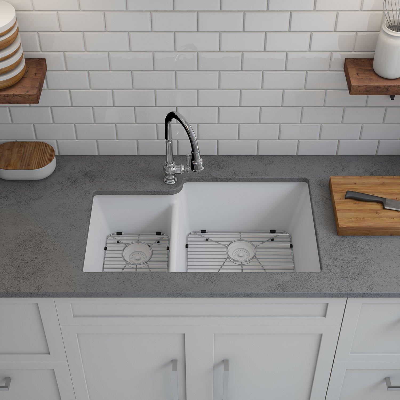 LEXICON Platinum fset Double Bowl Quartz posite Kitchen Sink