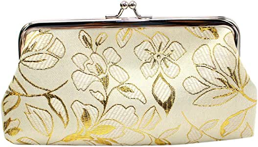 Peony With Leaf And Butterfly Women Girl Canvas Floral Coin Purse Clutch Pouch Wallet