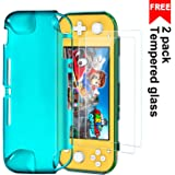 Protective TPU Cover Case for Nintendo Switch Lite 2019, Ultra Slim Cover with 2 Pack Tempered Glass Screen Protector, Shock-Absorption and Anti-Scratch Case Cover for Nintendo Switch Lite,Turquoise