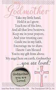 The Grandparent Gift Co. Godparent You are Loved Pewter Coin with Sentiment Card (Godmother)