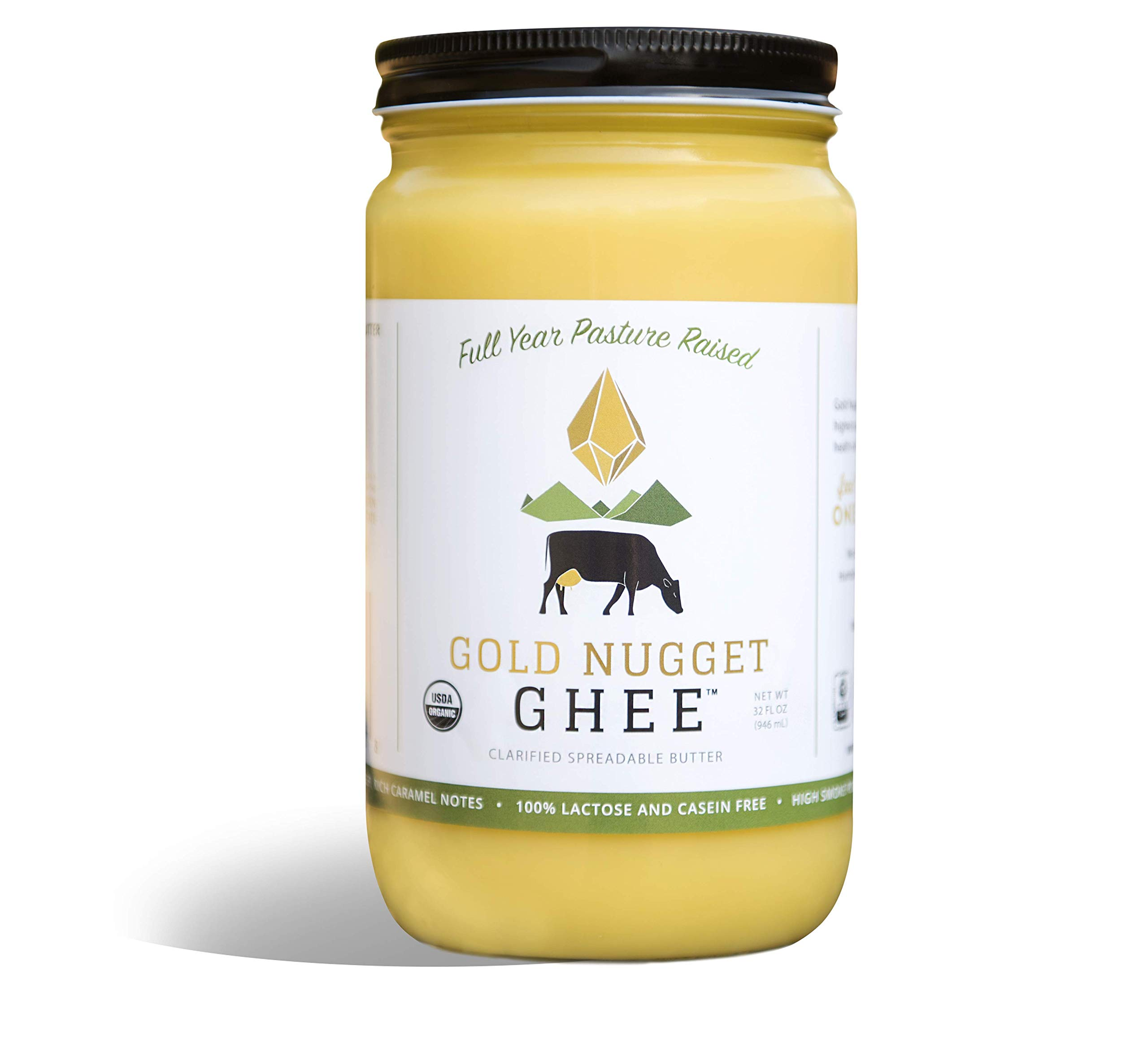 TRADITIONAL GHEE BY GOLD NUGGET GHEE USDA ORGANIC FULL YEAR PASTURE RAISED GRASS-FED BUTTER (32oz)