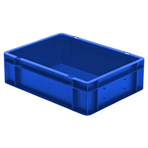 Euro Stacking Box Height 120 mm, L x B 400 x 300 mm, Walls and Closed Base, 10 L, POLYPROPYLENE, Blue