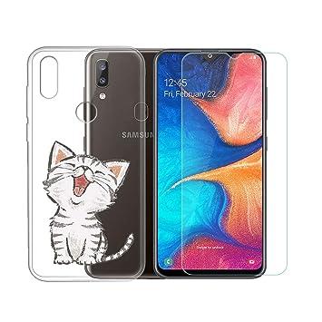 SCDMY para Samsung Galaxy A20E Funda + Cristal Templado, Transparente Silicona Carcasa, Fuerte protección de Suave TPU Funda Case Carcasa y HD Cristal ...