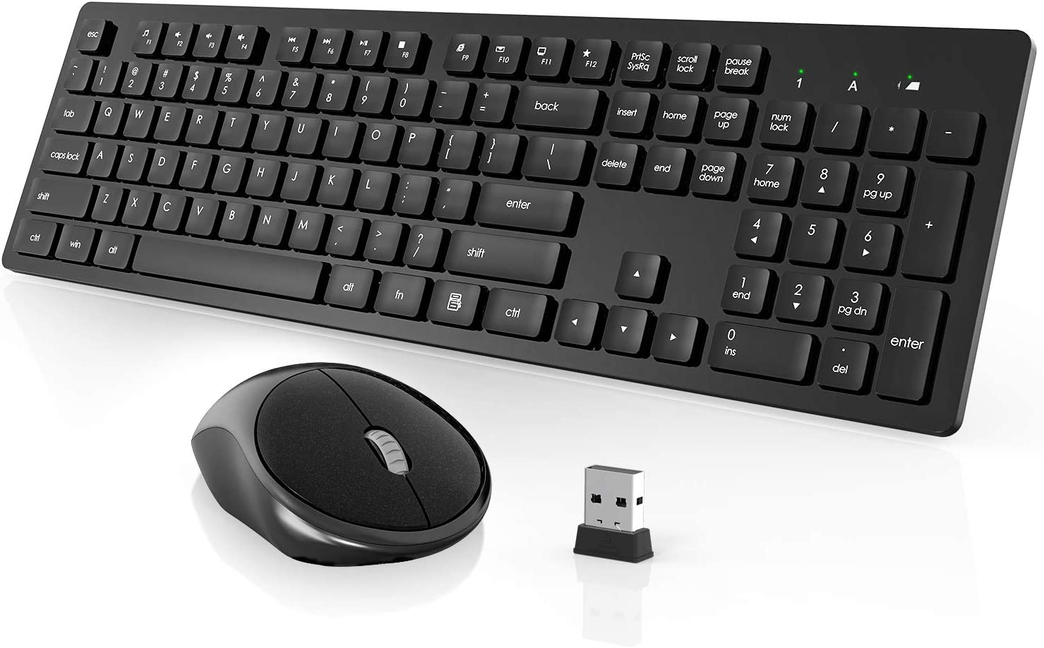 Wireless Keyboard and Mouse, WISFOX Full-Size Wireless Mouse and Keyboard Combo,2.4GHz Silent USB Wireless Keyboard Mouse Combo for PC Desktops Computer, Laptops, Windows: Computers & Accessories