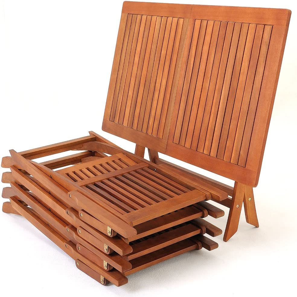 Deuba Wooden garden furniture set table chairs set tropical acacia wood FSC dining furniture