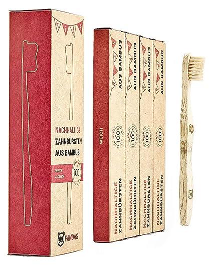 99PANDAS® | Cepillo de dientes infantil sostenibles Conjunto de 4 madera de bambú | Cabeza
