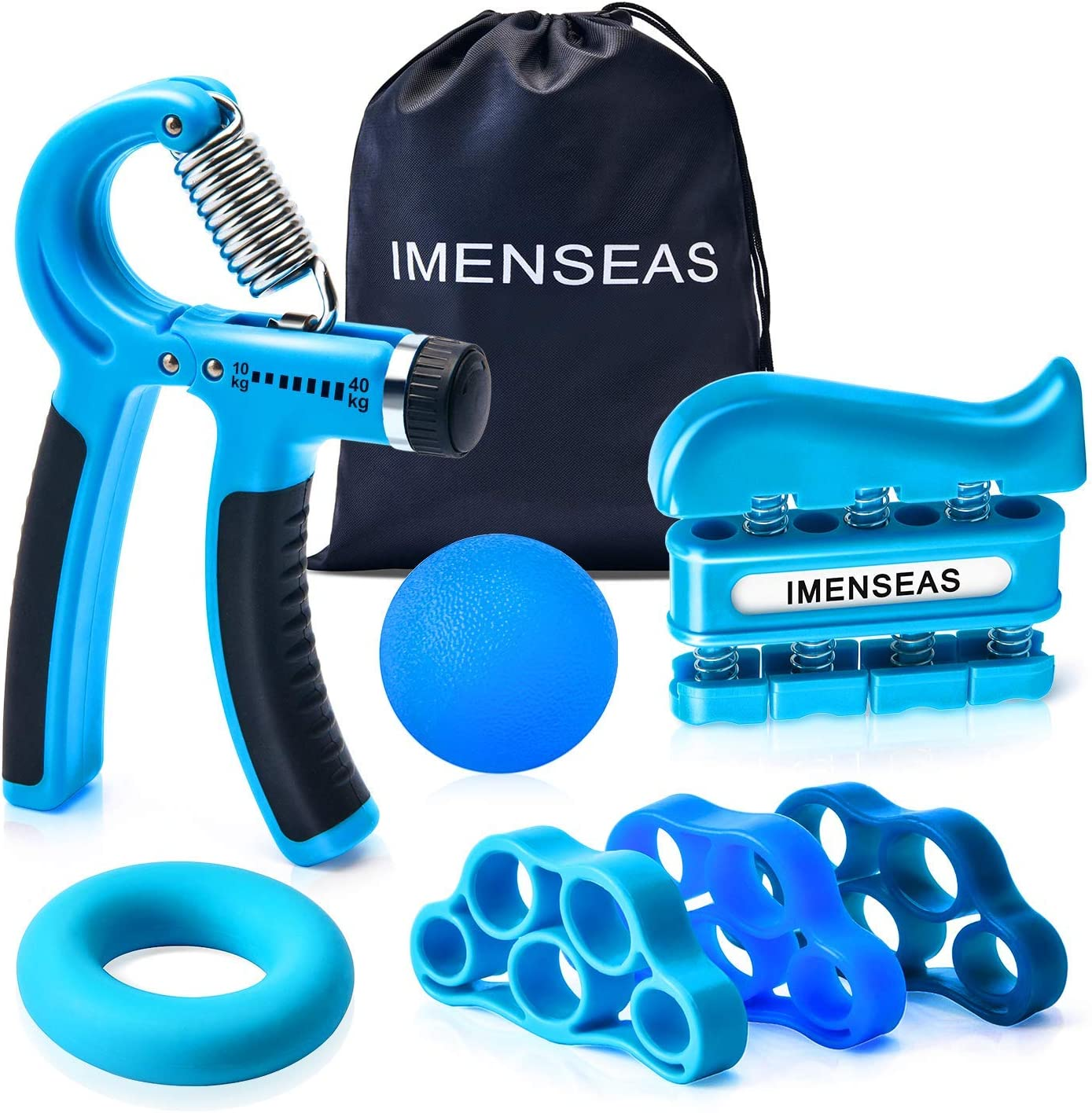 IMENSEAS Hand Grip Strengthener 7 Pack Adjustable Hand Gripper, Finger Stretcher Resistance Extensor Bands, Finger Exerciser, Grip Strength Ring Stress Relief Ball for Athletes Musicians