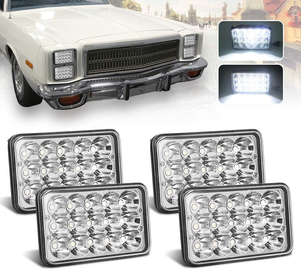4651 Led Headlight Peterbilt Headlights Rectangular H4651 H4652 H4656 H4666 H6545 for Kenworth Freightinger Ford Probe Chevrolet Oldsmobile Cutlass KASLIGHT 4pcs 4x6 Led Headlights w// H4 Socket