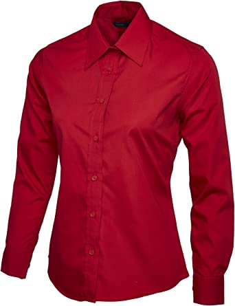 Mujer Popelina Camisa De Manga Larga Blusa Casual Formal Negocios Trabajo Uniforme - sintético, Rojo, 65% poliéster 35% algodón, mujer, Small: Amazon.es: Ropa y accesorios