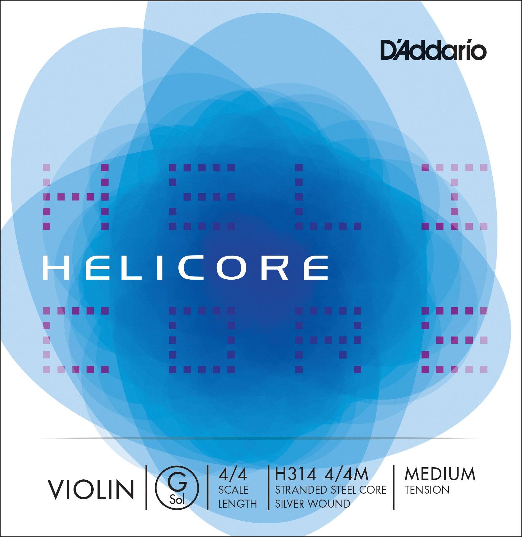 D'Addario Helicore Violin Single G String, 4/4 Scale, Medium Tension