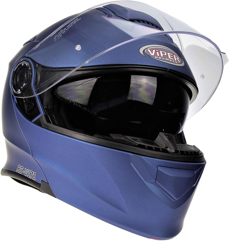 59-60 CM Viper RS-V171 Motorbike Bluetooth Helmet Flip Up Modular Motorcycle Midnight Blue Sun Visor Unisex Adult Touring Protection Gear L
