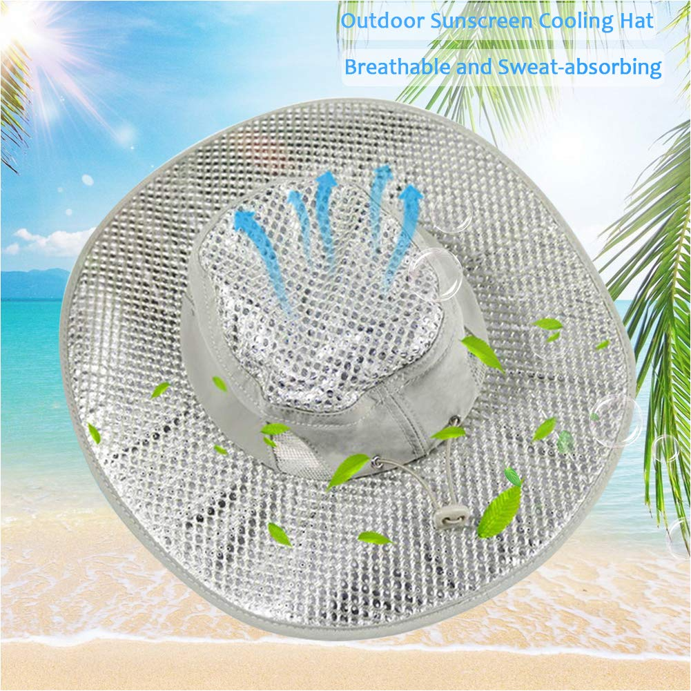 Xianful Hydro Cooling Sun Hat Summer Sunscreen Heatstroke Hat UV Protection Hat Caps Wide Brim Outdoor Hot Weather Cooling Hat Breathable Bucket Fishing Hats for Men Women Gardening Beach Camping