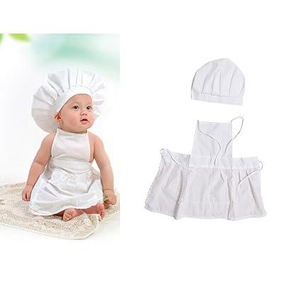 Adorable disfraz para recién nacidos o niños pequeños, diseño chef de cocina con delantal y gorro de punto, para sesiones fotográficas, color blanco: Bebé