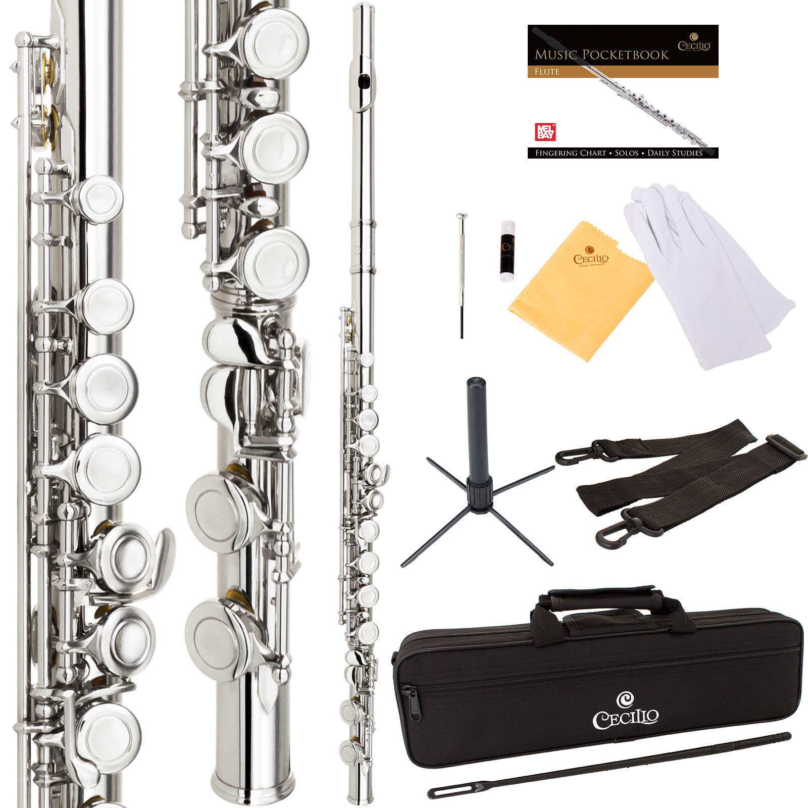 Cecilio High Grade Student C Flute Package in Silver Nickel Plated with Stand, Pocketbook, Case, Screwdriver, Joint Grease, Cleaning Cloth and Rod by Cecilio