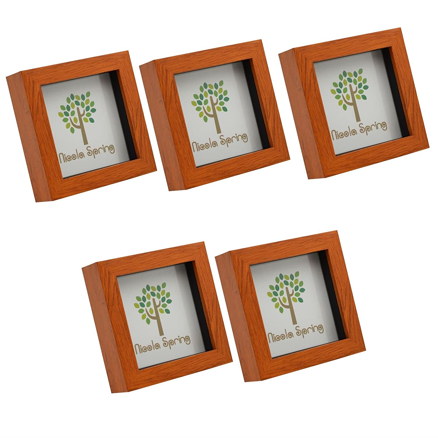 Dark Wood Effect 4x4 Box Photo Frame - Standing & Hanging - Pack of 5 Nicola Spring