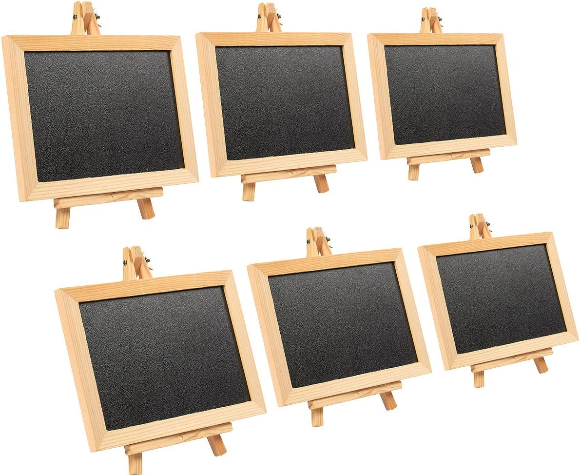 Wooden Framed Chalkboard Sign - 6-Pack Decorative Removable Chalk Board with Easel Stand - for Restaurants, Weddings, Cafe, Black, 7 x 7 x 4.25 inches Assembled