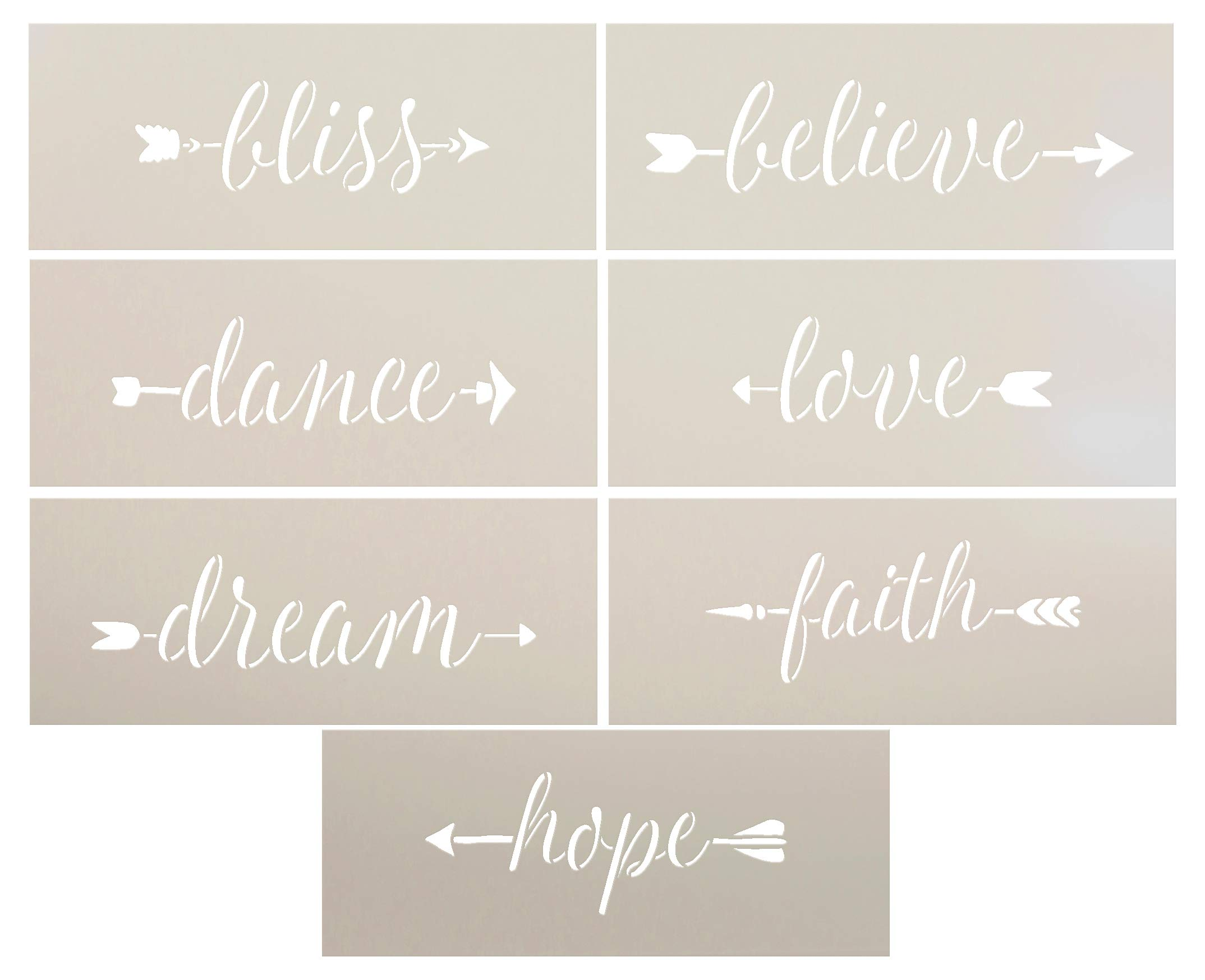Words of Inspiration and Love Arrow Stencil Set - 7 Piece Set by StudioR12   Reusable Mylar Template   Use to Paint Wood Sign - Wall - DIY Decor - Bliss - Believe - Dance - Love - Dream - Faith - Hope