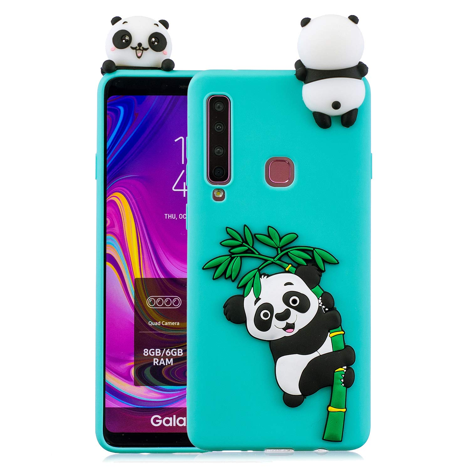 ZCXG Compatible with Samsung Galaxy A9 2018 Case Panda Black Cute Animal Silicone Gel Soft Flexible Shockproof Phone Protective Rubber Cover 3D Slim Fit Ultra Thin TPU for Samsung Galaxy A920