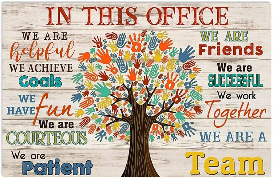 RosyyShop Social Worker in This Office We are Helpful We are Friends We are A Team White Satin Landscape Poster (48