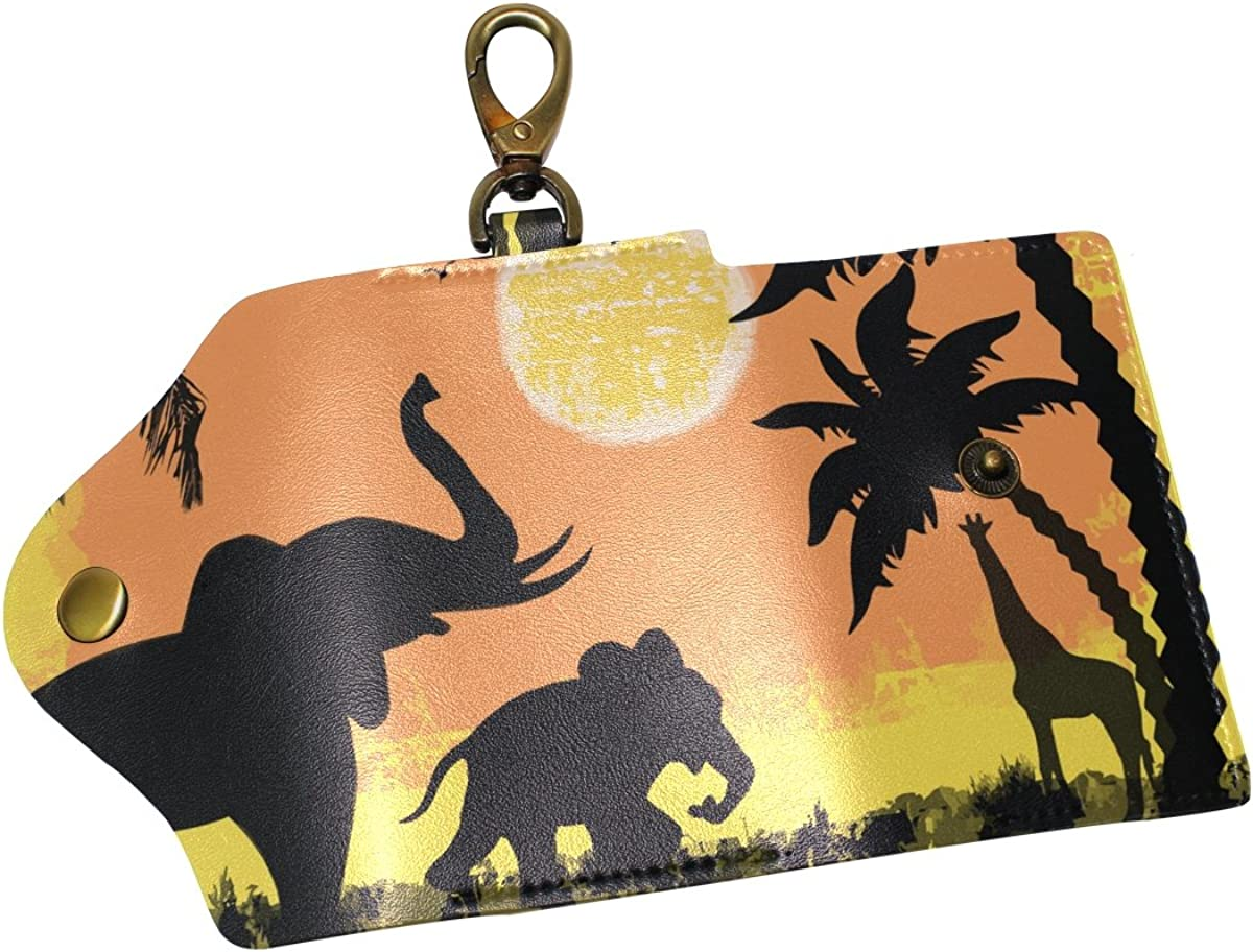 DEYYA Elephant Sunset Palm Tree Leather Key Case Wallets Unisex Keychain Key Holder with 6 Hooks Snap Closure