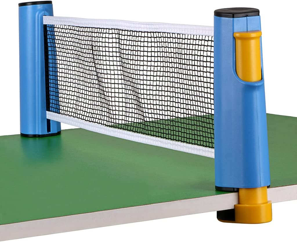 red retractil para ping pong ajustable hasta 1.8mts azul