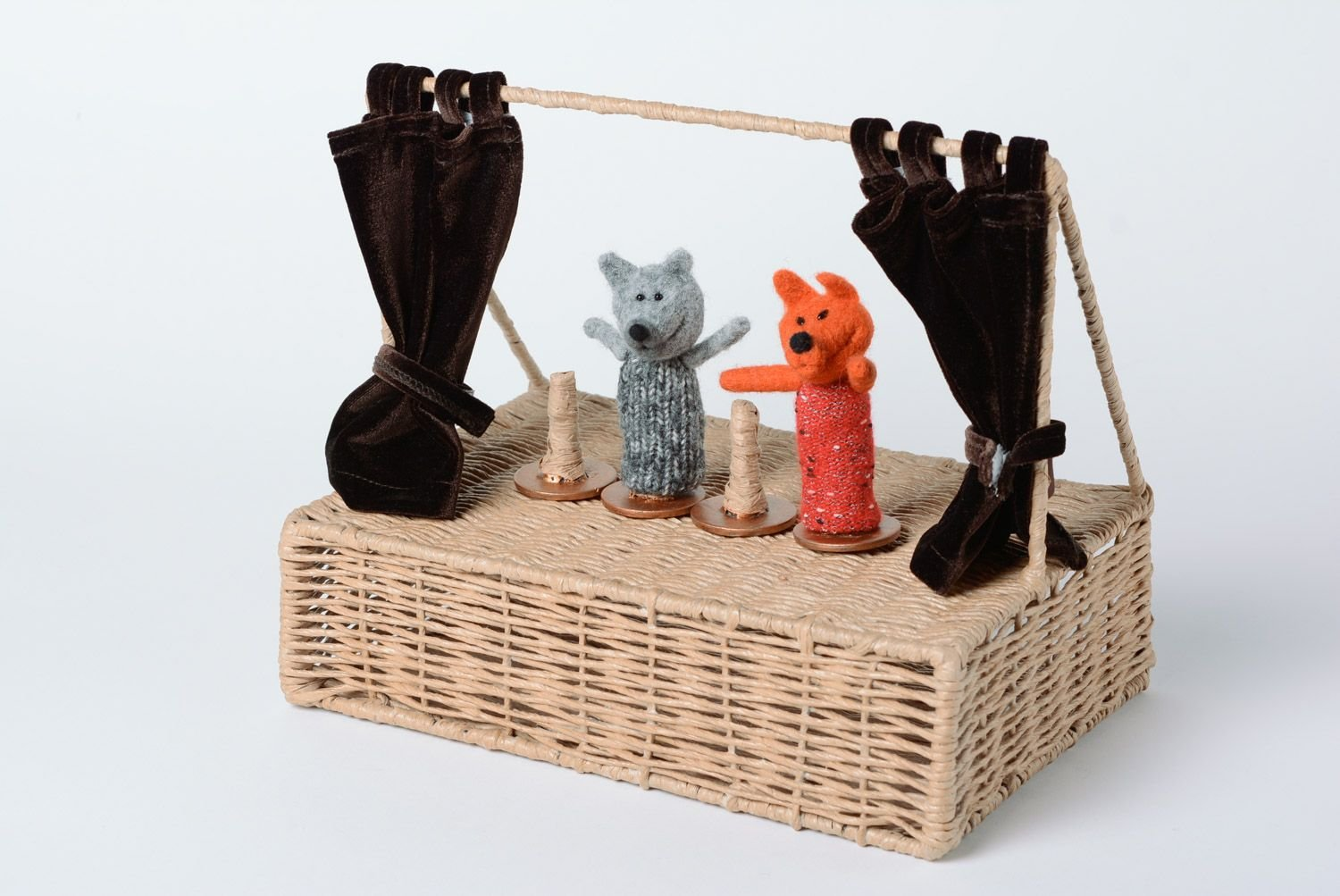Set Of Handmade Scenery For Puppet Theater 1 Folding Screen And 4 Holders by MadeHeart | Buy handmade goods (Image #1)