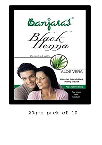 f7cc7f83b9434 Buy Banjaras Black Henna with Aloevera Hair Colour, 10g (Pack of 2) Online  at Low Prices in India - Amazon.in