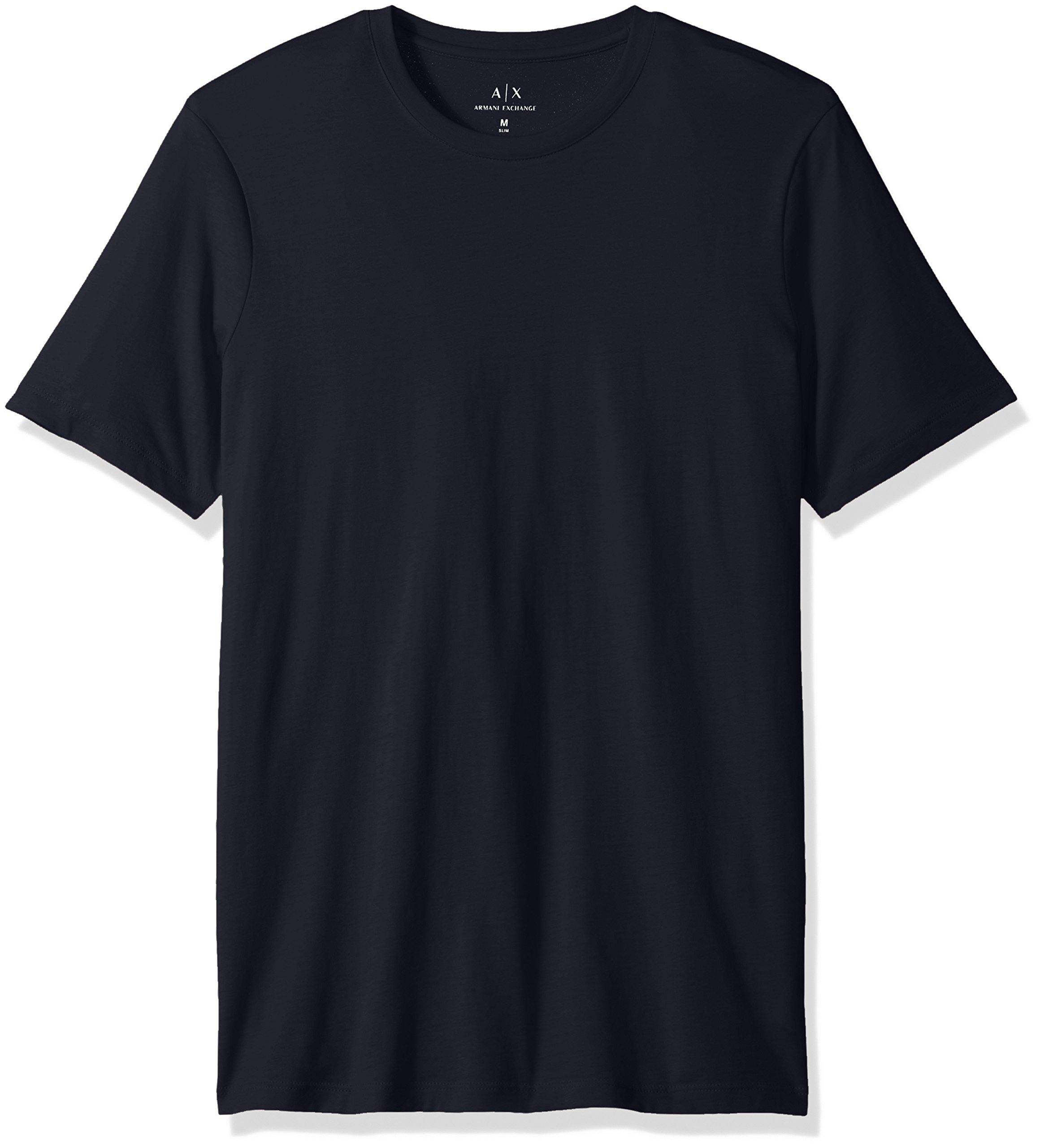 A X Armani Exchange Men's Solid Colored Basic Pima Crew Neck, Navy, Large