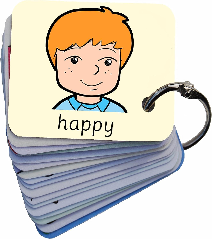 19 Emotions Feelings Flash Cards Set Verbal Comunication School ASD EYFS SEN
