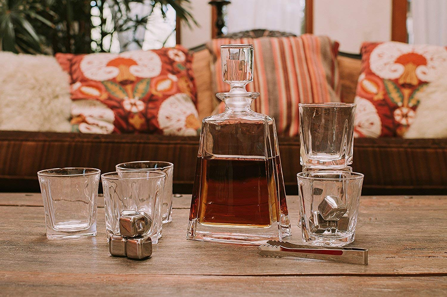 Whiskey Decanter Set by Opul (10 Piece Set) - Includes Crystal Whiskey Glasses Set, Whiskey Stones, Stainless Steel Tray and Tongs - Elegantly Designed to Last the Test of Time by OPUL (Image #7)