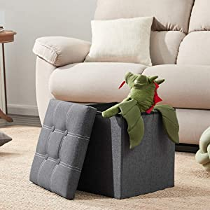 YOUDENOVA 15 inches Folding Storage Ottoman, Cube Storage Boxes Footrest Step Stool, Padded Seat for Dorm Living Room, Support 350lbs, Line Fabric Grey