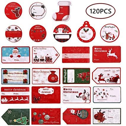 amazon com christmas gift tag stickers christmas name tags